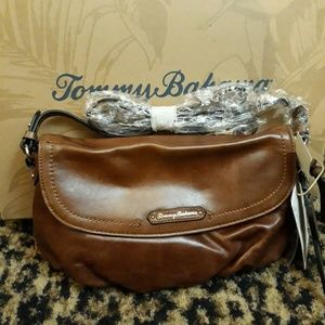 Tommy Bahama Clutch Cognac Leather Purse Crossbody